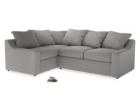 Large Left Hand Cloud Corner Sofa in Wolf brushed cotton