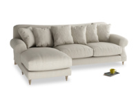 XL Left Hand  Crumpet Chaise Sofa in Thatch house fabric
