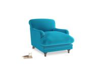 Pudding Armchair in Azure plush velvet