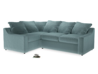 Large Left Hand Cloud Corner Sofa in Lagoon clever velvet