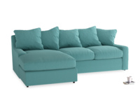 Large left hand Cloud Chaise Sofa in Peacock brushed cotton