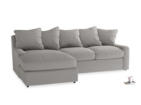 Large left hand Cloud Chaise Sofa in Wolf brushed cotton