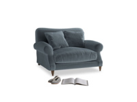 Crumpet Love seat in Mermaid plush velvet