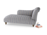 Right Hand Brontë Chaise Longue in Brittany Blue french stripe