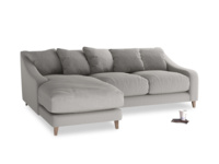 Large left hand Oscar Chaise Sofa in Wolf brushed cotton