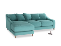 Large left hand Oscar Chaise Sofa in Peacock brushed cotton