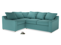 Large left hand Cloud Corner Sofa Bed in Peacock brushed cotton