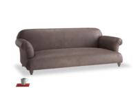 Large Soufflé Sofa in Dark Chocolate beaten leather