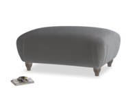 Rectangle Homebody Footstool in Steel clever velvet