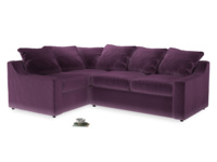 Large Left Hand Cloud Corner Sofa in Grape clever velvet