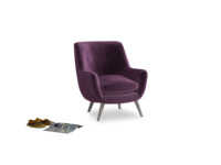 Berlin Armchair in Grape clever velvet