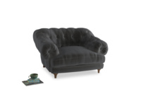 Bagsie Love Seat in Steel clever velvet