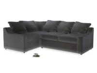 Large Left Hand Cloud Corner Sofa in Steel clever velvet