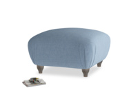 Small Square Homebody Footstool in Nordic blue brushed cotton