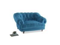 Bagsie Love Seat in Teal Blue plush velvet