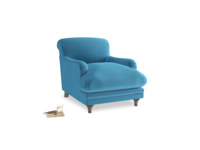 Pudding Armchair in Teal Blue plush velvet
