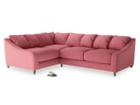 Large Left Hand Oscar Corner Sofa  in Raspberry brushed cotton