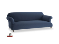 Large Soufflé Sofa in Navy blue brushed cotton