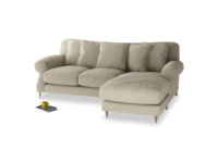 Large right hand Crumpet Chaise Sofa in Jute vintage linen