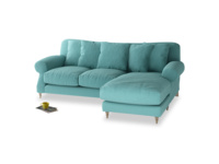 Large right hand Crumpet Chaise Sofa in Peacock brushed cotton
