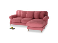 Large right hand Crumpet Chaise Sofa in Raspberry brushed cotton