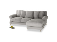 Large right hand Crumpet Chaise Sofa in Wolf brushed cotton