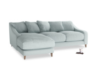 Large left hand Oscar Chaise Sofa in Duck Egg vintage linen