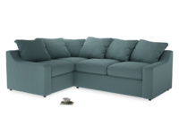 Large Left Hand Cloud Corner Sofa in Marine washed cotton linen