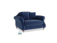 Sloucher Love seat in Ink Blue wool