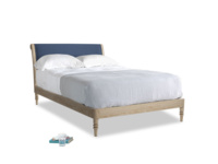 Double Darcy Bed in Navy blue brushed cotton
