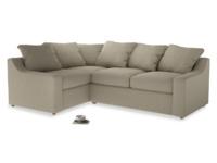 Large left hand Cloud Corner Sofa Bed in Jute vintage linen
