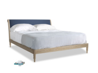 Superking Darcy Bed in Navy blue brushed cotton