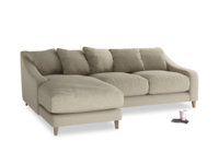 Large left hand Oscar Chaise Sofa in Jute vintage linen