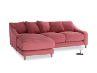 Large left hand Oscar Chaise Sofa in Raspberry brushed cotton