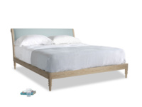 Superking Darcy Bed in Smoke blue brushed cotton
