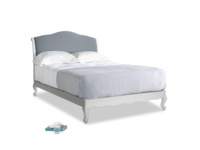 Double Coco Bed in Scuffed Grey in Blue Storm washed cotton linen