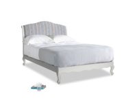 Double Coco Bed in Scuffed Grey in Brittany Blue french stripe
