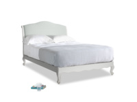Double Coco Bed in Scuffed Grey in French blue brushed cotton