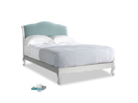 Double Coco Bed in Scuffed Grey in Lagoon clever velvet