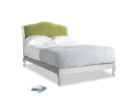Double Coco Bed in Scuffed Grey in Olive plush velvet