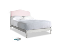 Double Coco Bed in Scuffed Grey in Pale Rose vintage linen