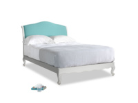 Double Coco Bed in Scuffed Grey in Peacock brushed cotton