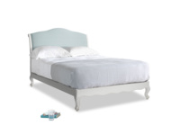 Double Coco Bed in Scuffed Grey in Smoke blue brushed cotton