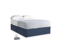Double Tight Space Storage Bed in Navy blue brushed cotton