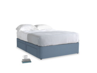 Double Tight Space Storage Bed in Nordic blue brushed cotton
