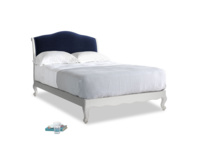 Double Coco Bed in Scuffed Grey in Midnight plush velvet