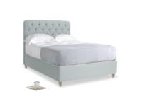 Double Billow Bed in Duck Egg vintage linen