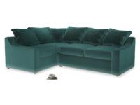 Large Left Hand Cloud Corner Sofa in Real Teal clever velvet