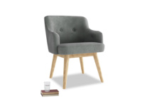 Smudge Armchair in Faded Charcoal beaten leather
