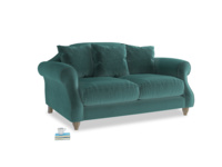 Small Sloucher Sofa in Real Teal clever velvet